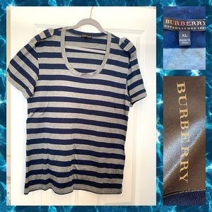 Burberry striped tee size XL woman's
